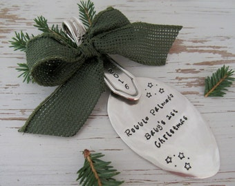 Baby's 1st Christmas 2016 spoon ornament - personalized - hand stamped - first Christmas - silver - stars - gift for baby nursery - heirloom