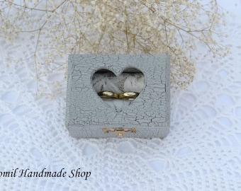 Rustic Ring Box, Ring Pillow, Wedding Box, Gray Ring Bearer