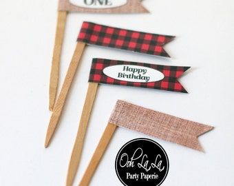 MADE TO ORDER Buffalo Plaid and Burlap Cupcake Flag Picks- Set of 12 with or without text
