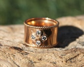 Limited 18 K Rose gold Anniversary Ring - Handmade - Unique - Custom - wedding - band