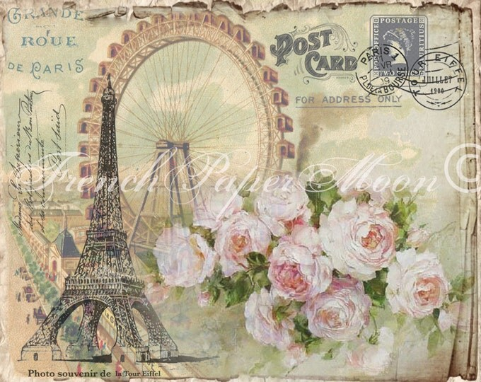 Digital Shabby French Postcard, Eiffel Tower, Ferris Wheel, Digital Collage Sheet, Instant Digital Download, Paris Transfer Graphic