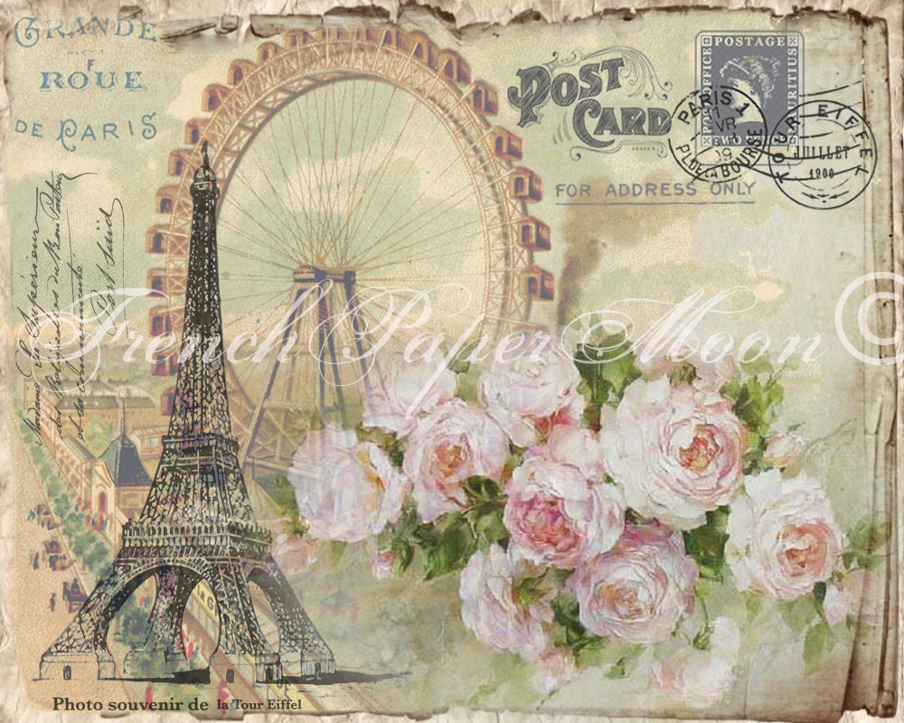 Digital Shabby French Postcard Eiffel Tower Ferris Wheel