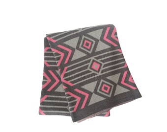 Cotton Knit Throw Blanket - 80% Recycled Cotton Fibers - Pewter, Aluminum, Princess Pink - Union