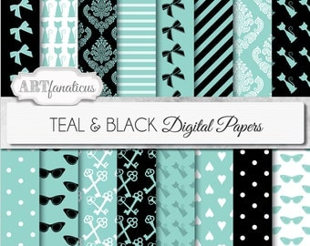 "Teal digital papers ""TEAL & BLACK "" teal, bows, cats, sunglasses, breakfast keys,hearts for scrapbooking,parties, invites, cards, home decor"