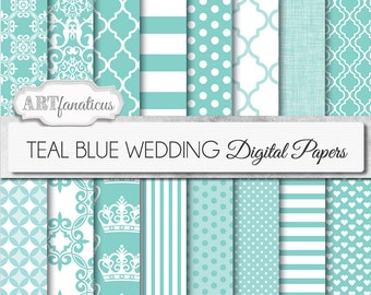 "Teal blue papers ""TEAL BLUE WEDDING"" Designs in designer blue, crowns, damask, linen weave, dots, stripes, for parties, showers and more"