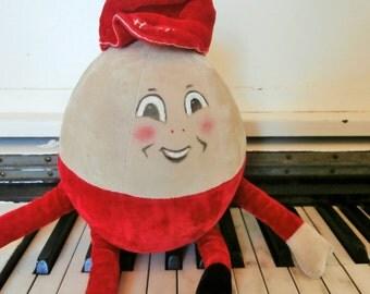Vintage, MerryThought, Jingle Bell Chime, Plush Velvet, Stuffed, Humpty Dumpty, for Hamley's