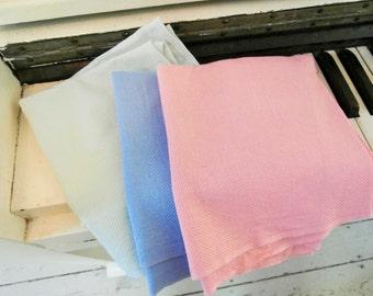 Vintage, Set of Three, Cannon, Pastel Kitchen Linens, Tea Towels, Pink/Green/Blue