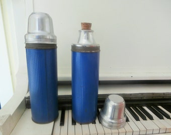 Vintage, 1950's, Ca lO Rex, Insulated, Thermos, Large, Blue Textured, Set of TWO