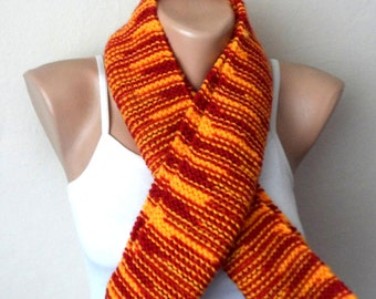 red yellow knit scarf  red yellow scarf circle scarf handmade knit scarf