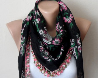 black scarf pink  flower white green  cotton turkish yemeni oya handmade