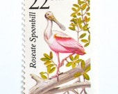 10 Unused Pink Spoonbill Vintage Postage Stamps // Tropical Wedding Postage // For Florida or Tropical Invitations