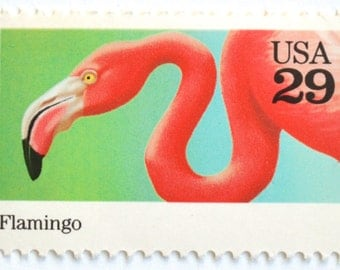 5 Unused Pink Flamingo Postage Stamps // Vintage 1992 Tropical Flamingos Stamps for Mailing