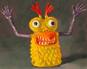 Popcorn - Monster Finger Puppet - Art Print