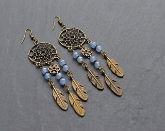 "Earrings ""dreamcatcher"" composed of agate beads blue"