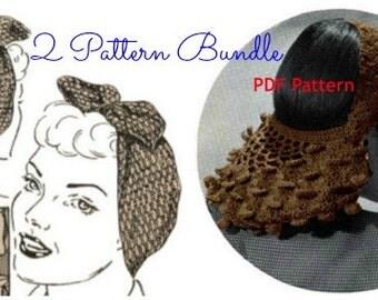 Vintage 1940s Snoods Crochet Pattern Bundle Rosie Riveter Film Noir Digital Download