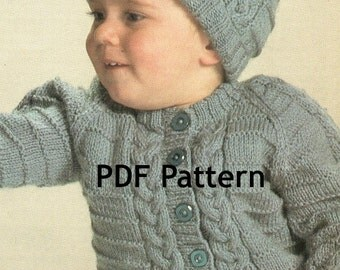 Vintage Cabled Toddler Knit Sweater with Hat Pattern Cable Knit Jacket in 3 Sizes Digital Download