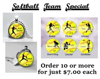 Softball Team Trophy Personalized Position Glass Dome Pendant Gift Girls softball Necklace Key Chain Neon Ball Award Sports Team