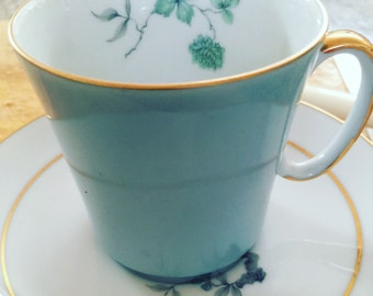 Vintage pastel aqua blue - teacup duo - teacup / coffee cup and saucer - duck egg blue - turquoise blue