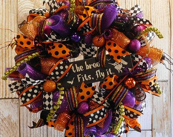 Halloween Deco Mesh Witch Front Door Wreath - Halloween Wreath in Purple and Orange