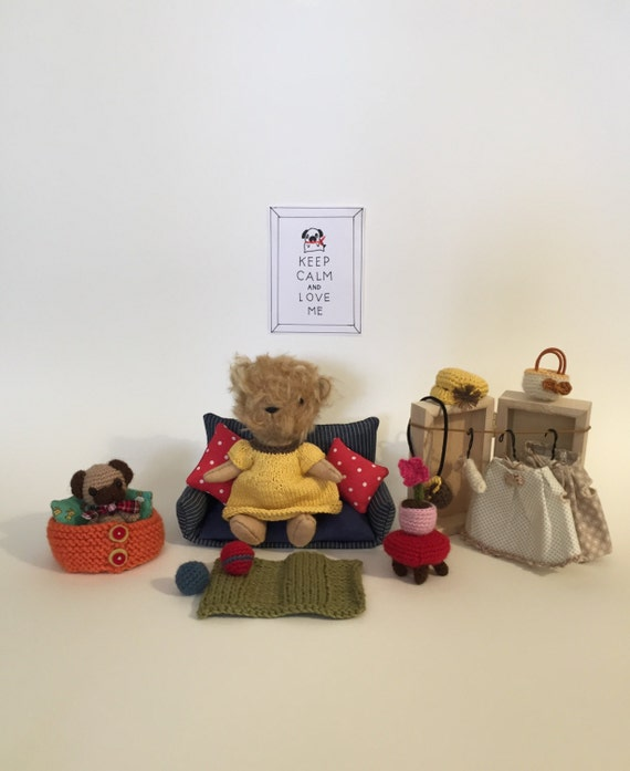 Amigurumi Mini Bear : Mohair bear Mini bear set Amigurumi pug