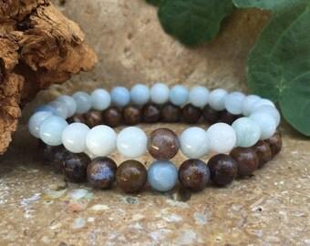 Couples Bracelets - Pietersite & Aquamarine - Gemstone His Hers Bracelets - Matching Bracelets