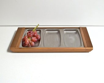 Mid-Century Walnut Tray with Stainless steel inserts | Stainless Steel tray | Thanksgiving nut tray