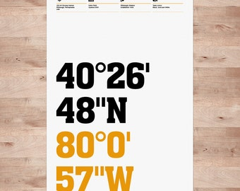 Pittsburgh Steelers Football Posters, Stadium Coordinates - Typography Wall Art Print