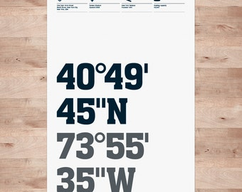 New York Yankees, Stadium Coordinates, Baseball Posters