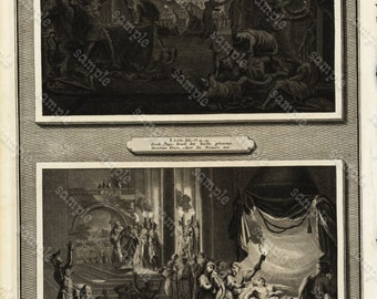 Antique Original Biblical Engraving  Of Egyptian Plagues,Moses forces Pharaoh to let his people go dated 1700 large folio