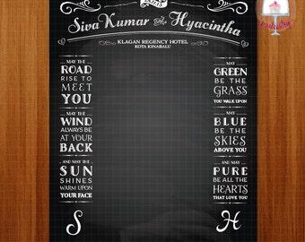 Chalkboard Wedding Backdrop Banner - Printable Wedding Backdrop Banner v2