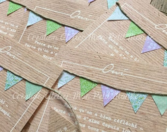 Wedding kraft pennants Liberty (set of 8) - Liberty peas vichy stripes