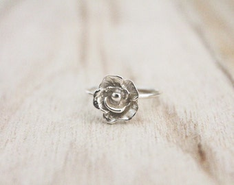 Rose ring, flower ring, sterling silver rose ring, stacking ring, sterling silver stacking ring, friendship ring, floral ring