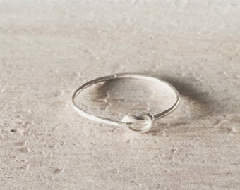 Skinny Knot Ring, Knot Ring, Sterling Silver Knot Ring, Thin Knot Ring