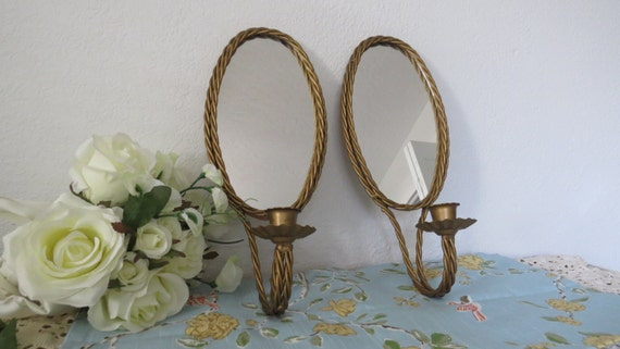 gold wall mirror candle holders twisted rope candle holders. Black Bedroom Furniture Sets. Home Design Ideas