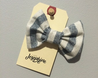 Bow hair accessory - blue and white stripe print