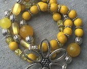 Yellow Bracelet & Earring Set, Yellow Stack Bracelets, Yellow Beaded Bracelets, Yellow Earrings, Yellow Bracelet , Flower, Hoop Earrings