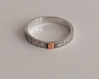 Textured Sterling Silver and Copper Men's Ring, Handmade Modern Bohemian Silver Rings, made in UK, Mixed Metals