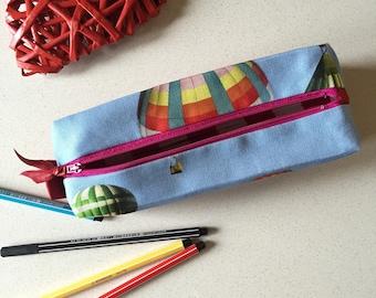 Caja de la pluma, casas escuela, caso de la belleza, casas de tela del globo, azul y rojo casas