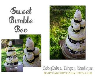 Bumble Bee Diaper Cake, Bee Diaper Cake, Black and Yellow Bee Diaper Cake, Baby Shower Diaper Cake