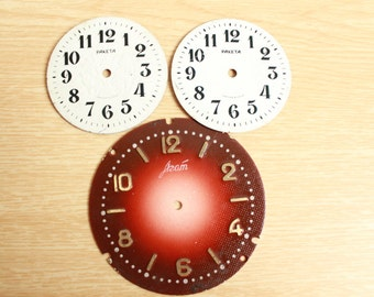 """Lot of 3 Old Vintage big Watch Faces ... 2.5 """" and 1.8 """"  ...  from USSR"""