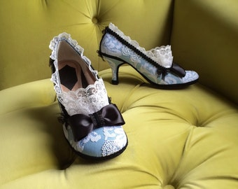 Alice In Wonderland Inspired Costume Shoes High Heels Party Fantasy Pumps Baby Blue Black Bows Snow White Lace Ruffle Custom Wedding Heels