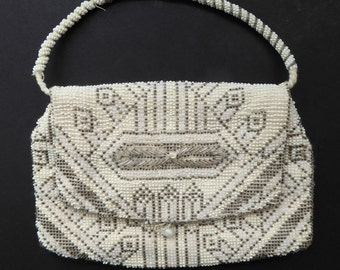 Beautiful Little Vintage 1930s / 1940s ART DECO Beaded Evening Bag; Embellished All Over with Glass Beads