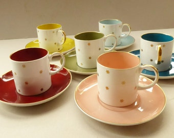 1950s Set of Six Harlequin Susie Cooper (Wedgwood) Star Pattern Coffee Cups or Cans, with Matching Saucers