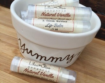 Vanilla All Natural Lip Balm - Meadowfoam Seed Oil - Cocoa Butter - Beeswax - Avocado Oil - Vitamin E