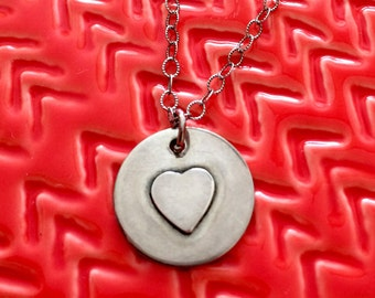Rustic Soldered Heart Necklace - Love Necklace - Valentines Day Necklace