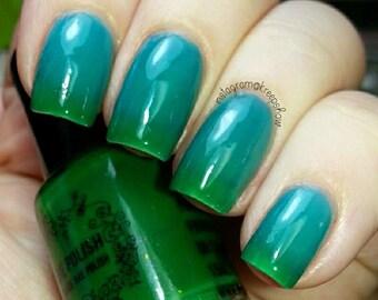 Thermal nail polish - Palm trees and cool seas -  5 free  -  Handmade - polish  - Vegan