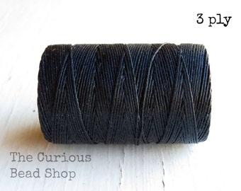 Black Irish waxed linen cord 3ply (5 yards) - Irish linen cord, Irish linen thread, black Irish linen, uk irish linen