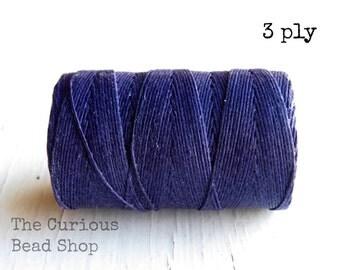 Plum purple 3ply Irish waxed linen cord (10 yards), 3ply Irish linen Irish waxed cord Irish waxed linen thread Irish waxed linen cord purple