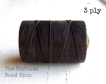 Dark Chocolate Brown 3ply Irish waxed linen cord (10 yards), Irish waxed linen, irish waxed linen thread, brown linen cord, uk