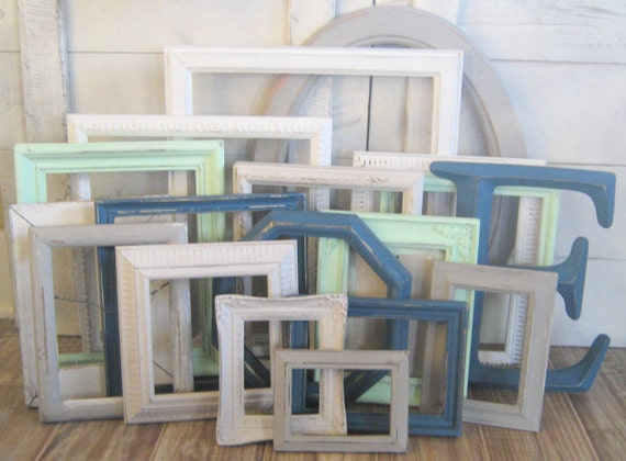 boys nursery decor shabby chic frames navy blue mint gray and white gallery wall frames jack collection from thedezignshoppe on etsy studio - Mint Picture Frames